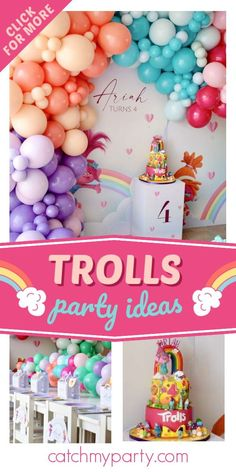 Take a look at this colorful Trolls-themed birthday party! The balloon decor is fab! See more party ideas and share yours at CatchMyParty.com Trolls Birthday Party, Girls Birthday Party Themes, Troll Party, 4th Birthday Parties, Girl Birthday, Party Drinks, Party Favors, Rainbow Parties, Party Activities