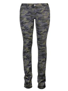 Lady's Mid-Waist Huggings Mid-Waist Casual Pants Army Green on buytrends.com