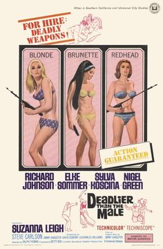 Deadlier Than The Male 1967 original American movie poster with Richard Johnson, Elke Sommer, Sylva Koscina, Nigel Green. Old Movies, Vintage Movies, Vintage Posters, Good Girl, Cinema Posters, Movie Posters, Walker Brothers, Liz And Liz, Mystery Film