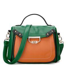 JSR London Two Tone Handbag/Shoulder Bag - Green [170460-07] - $34.00