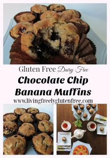 Moist and delicious gluten free and dairy free chocolate chip banana muffins…