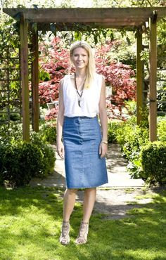 White tank, jean skirt, wedge sandals