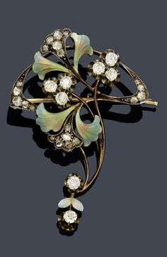 AN ART NOUVEAU ENAMEL AND DIAMOND BROOCH, Moscow, ca. 1900. Silver over pink gold, 56 zolotniki. Decorative, asymmetric brooch with stylised blossoms, set with 8 old European-cut diamonds, the leaves in shades of turquoise and additionally decorated with diamond-set band motifs. Maker's mark in Cyrillic script (I.G. ev. Ivan Gubkin) #Russian #ArtNouveau #brooch
