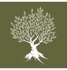 Olive tree silhouette icon isolated vector