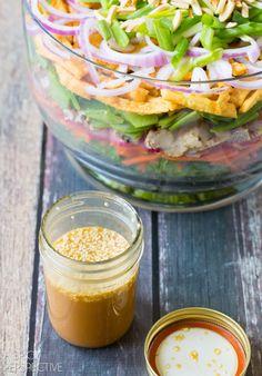 9 Layer Asian Salad + Sesame Ginger Asian Salad Dressing #salad #summer #potluck