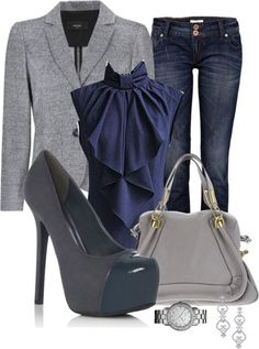 Work outfit  Platform shoes---ugh.  Pretty gray heels would look better.