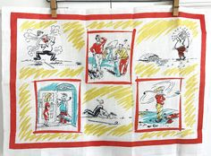 FATHER'S DAY! Vintage Golf Towel Pure Irish Linen Cartoons Sports Wall Hanging Gift for  Man or Dude by NeatoKeen on Etsy
