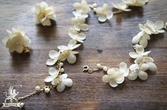necklace set【 布花ロングネックレス & 耳飾り hydrangea & fresh water pearl * pale yellow 】