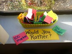 Would you rather have..? 100th day game. Children choose 2 papers with different items (100 dollars, 100 toys, 100 dirty socks, 100 bees, etc.) And tell which they would rather have and why. Preschool 100th day oral language activity