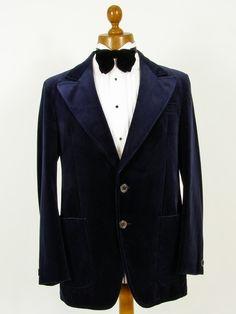 Navy blue mens vintage velvet evening jacket.