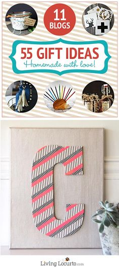 55 Homemade Holiday Gift Ideas! Washi Tape Wall Art Would Be Great As Home Decor Too!