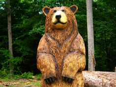 Brown Bear Chainsaw Carving: The Cali, 6 feet tall, wood sculpture Chainsaw Wood Carving, Carving Wood, Tree Carving, Wood Carvings, Wood Sculpture, Sculptures, Hollow Art, We Bear, Sculpting