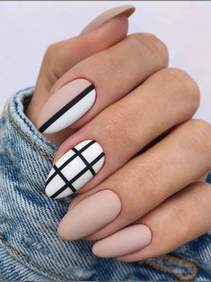Elegant Fall Nail Art Designs You'll Love - Matte Nude Nails With Black Strip ❤ 35 Fall Nail Art Designs You'll Love ❤ See more ideas on - Fall Almond Nails, Natural Almond Nails, Classy Almond Nails, Classy Nails, Stylish Nails, Simple Nails, Elegant Nails, Natural Nail Art, Trendy Nails