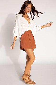 SALTY BREEZE BURNT ORANGE SHORTS | Dissh Orange Shorts Outfit, Summer Shorts Outfits, Dressy Outfits, Short Outfits, Chic Outfits, Burnt Orange Dress, Orange Skirt, Orange Dress Summer, Orange Fashion