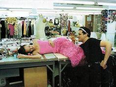 """Mizrahi Thinks Pink"", ELLE US, February 1995Photographer: Gilles BensimonModel: Amber Valletta and Isaac Mizrahi"