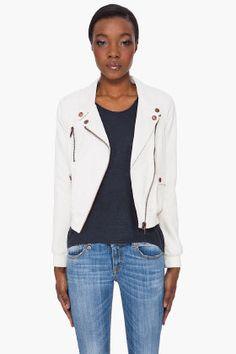 DIESEL Cream Felix Leather Jacket