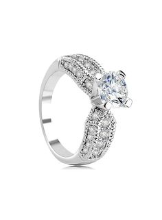 *Free shipping worldwide* This exquisite ring features a round cubic zirconia center in an openwork design which trails pavé-set cubic zirconia along the band with milgrain edges. | bridal ring | wedding ring | bridesmaid ring | prom ring | silver ring | cubic zirconia ring | bridal jewelry | wedding jewelry | prom jewelry | bridal jewellery | wedding jewellery | prom jewellery