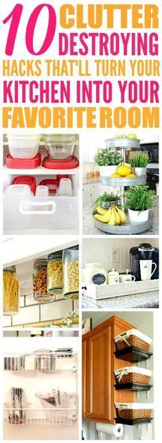 These 10 easy kitchen organization hacks are THE BEST! I'm so glad I found these GREAT tips! Now I have good ways to clear up clutter and make extra space in my kitchen! Definitely pinning!