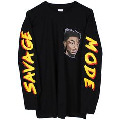"21 Savage ""Savage Mode"" Long Sleeve T Shirt (125 PLN) ❤ liked on Polyvore featuring tops, t-shirts, shirts, sweatshirt, long sleeves, sweaters, crew shirt, long sleeve shirts, crew neck long sleeve shirts and crewneck t shirt"