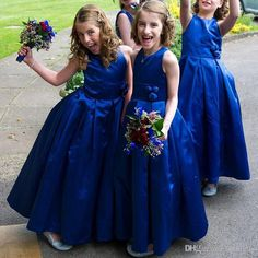 A-Line Round Neck Tea-Length Royal Blue Pleated Satin Flower Girl Dress with Flowers relationship wants / royal blue dress for wedding / royal blue wedding dress / blue wedding dress royal / royal blue wedding Cheap Flower Girl Dresses, Lace Flower Girls, Little Girl Dresses, Girls Dresses, Blue Dresses, Pleated Dresses, Cheap Dress, Dresses 2016, Dresses Dresses