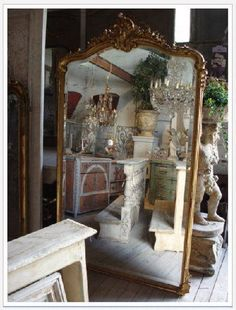 A few of my favorite things: Beautiful French beveled mirrors, eclectic antique decorative accessories and vintage elements. This is an example of items I like and sell.