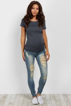 Light Blue Faded Destroyed Maternity Skinny Jean
