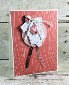 A Little Foxy Patterned Paper and Babys First Framelits Hello Baby Card #stampinup www.stampstodiefor.com