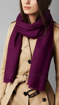 Bright violet Embroidered Lightweight Cashmere Scarf - Lightweight cashmere scarf with tonal embroidered detail.  Fringing at the edges.  Discover the scarves collection at Burberry.com