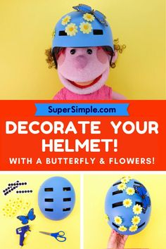 Decorate your helmet for summer! Simple Crafts, Easy Crafts For Kids, Summer Crafts, Butterfly Flowers, Tricycle, Flower Decorations, Summer Time, Helmet, Diy Projects