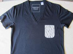 Tee shirt noir customisé tissu motif africain wax blanc (envoi 0€)