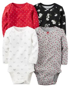 Baby Girl 4-Pack Long-Sleeve Bodysuits from Carters.com. Shop clothing & accessories from a trusted name in kids, toddlers, and baby clothes.