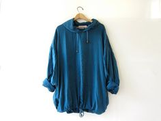super oversized - plus size - deep blue silk pullover. Large cozy hood with drawstring and drawstring along bottom hem.