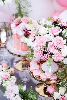 Floral Details + Macarons from a Pink + White & Gold Garden Party via Kara's Party Ideas | KarasPartyIdeas.com (6)