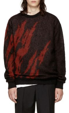 ec22a7e6027b Saint Laurent Black   Red Flame Sweater from SSENSE (men