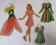 """Famous Ice Skater """"Sonja Henie"""" Vintage Paper Doll w/ Glamours Costumes"""