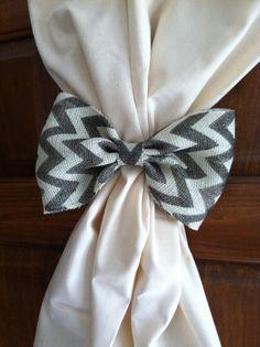 Chevron Burlap Curtain Tie Back or Pillow Decoration, Pair on Black Grosgrain Ribbon via Etsy