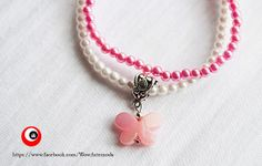 Double Refined Bracelet with fuchsia and white beads and with very nice and bright rose butterfly charm. Nichel Free - WoWartemoda