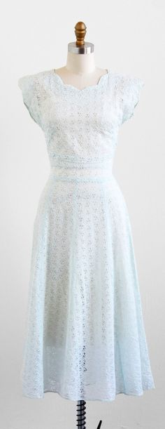 vintage 1940s sheer pale blue organdy eyelet dress.