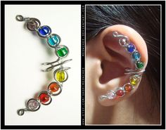 Elegant Croissant ear cuff (Rainbow Colored Stones)
