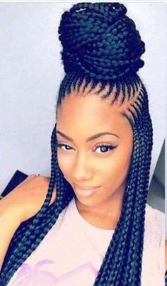 Hi ladies. Ket braids hairstyles are also among the trendy braids ladies are rocking this year. They will make you look stunning and adorable, it is also possible to transform your box braids into ket braid Black Girl Braids, Braids For Black Hair, Girls Braids, Box Braids Hairstyles, My Hairstyle, Black Girls Hairstyles, African Hairstyles, Latest Hairstyles, Hairstyles 2018
