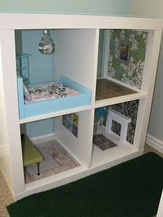 Barbie Doll House (for when I have a girl ;) Made from Ikea bookshelf & scrapbook paper!