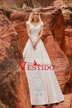 615101fd55a2 Comprar 2017 scoop cap sleeves vestidos de novia una línea de raso satén  barrido xf3d940 baratos - 2016Vestido.com for mobile
