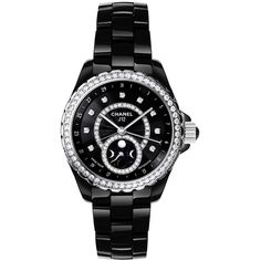 Chanel J12 Black Dial Diamond Black Ceramic Automatic Ladies Watch (€17.045) ❤ liked on Polyvore featuring jewelry, watches, water resistant watches, ceramic jewelry, diamond wrist watch, automatic movement watches and chanel jewelry