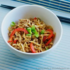 Spicy Thai noodles - increase sauce, pour over cooked pork.  Simmer two minutes then add noodles.