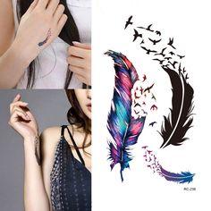 Nowy Gorący Wodoodporny Małe Świeże Gęsiego Pierza Kolor Tymczasowe Tatuaże Naklejki DIY Body Art Makeup Darmowa wysyłka