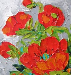 Original Oil Painting Impasto Red Poppies by Jan Ironside Watercolor Artists, Poppies Painting, Flower Paintings, Palette Knife Painting, Southwest Art, Texture Art, Red Poppies, Art Oil, Painting Inspiration