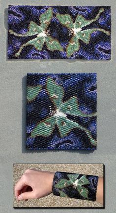 """(2006) 4""""x 4"""", delica beads (bone white, matte gold lined opal, light middle and dark matte brown, light middle and dark matte green, glossy black, metal light and dark blue iris, metal lilac iris)..."""