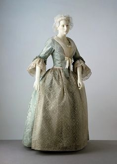 Rococo Period Dress - Gown and petticoat - United Kingdom (made)  Date: ca. 1745 (woven)   1750-1760 (made)   1760-1770 (altered)  Artist/Maker: Unknown (production)  Materials and Techniques:  Silk damask, lined with linen, hand-sewn.    Victoria and Albert Museum