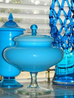 Vintage Cased Glass Apothecary Candy Jar Venetian Murano Empoli Blue