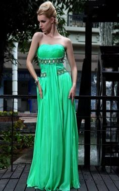 Fashional Green Floor-Length 30d Tencel Chiffon Strapless Pageant Party Dresses #gown #party #dresses